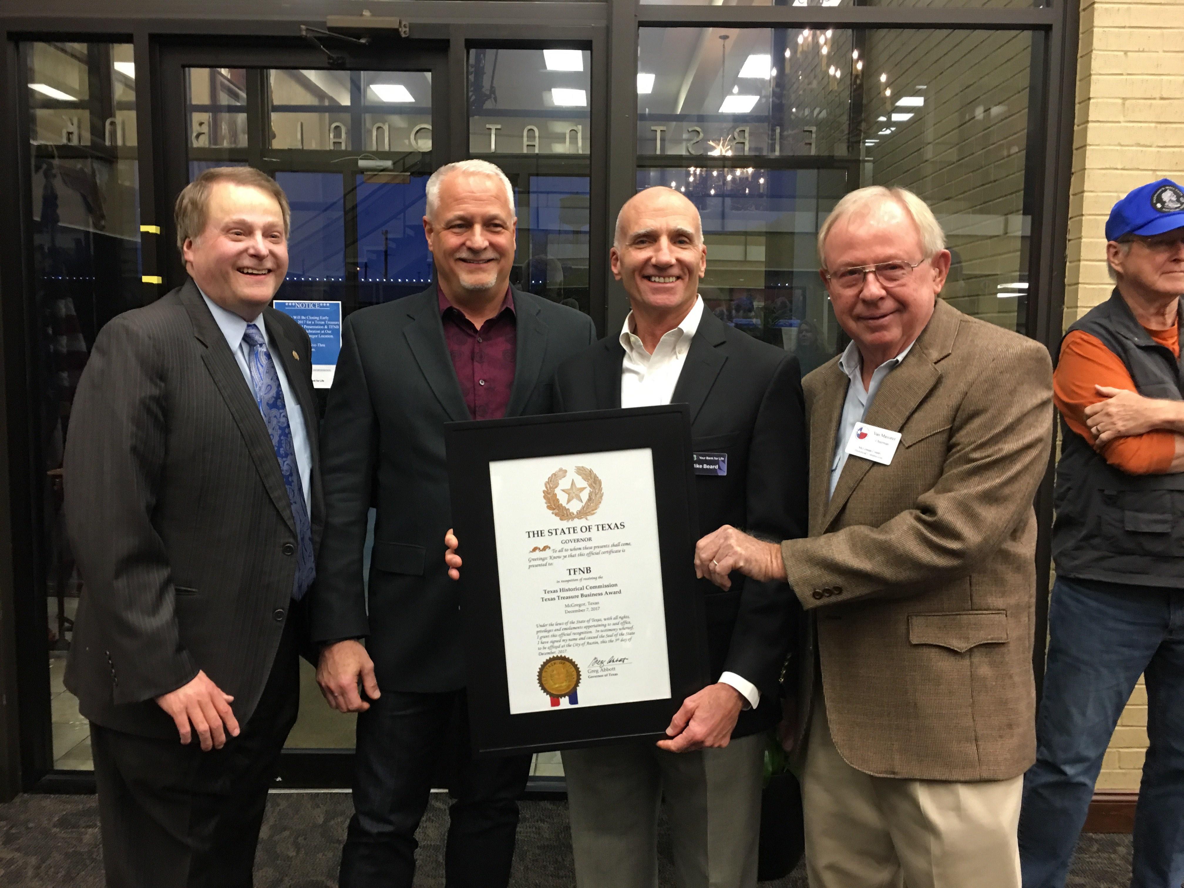 Texas Treasure Business Award TFNB McGregor Bank